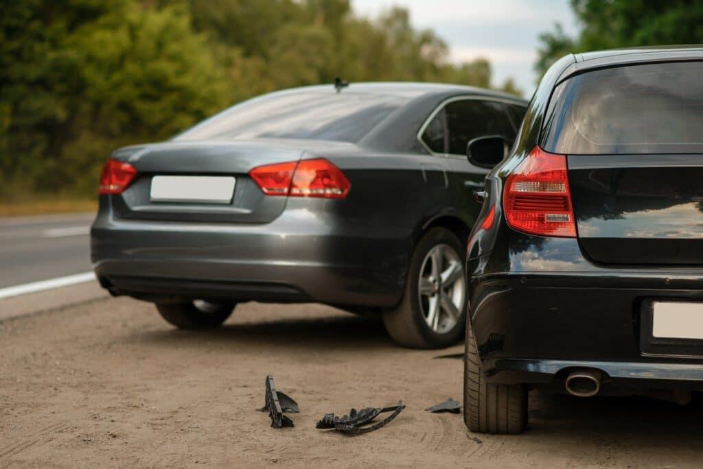 Car accident on road, automobile crash, nobody